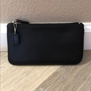 🆕 Coach Small Flat Cosmetic Case - Black Leather